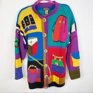 Lisa Nichols Vintage Embellished Purses Cardigan